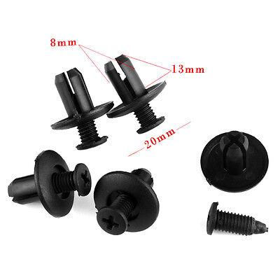 100x Hole Universal Plastic Rivets 8mm Car Auto Fastener Bumper Push Pin Clips @