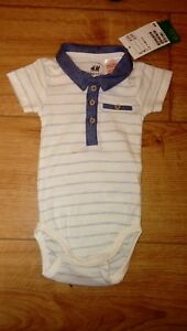 New-H-amp-M-Organic-Cotton-Baby-Boy-White-Striped-Collared-T-Shirt-Vest-Age-0-2
