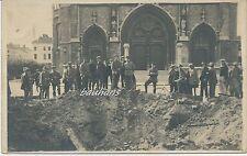 Foto Flandern Ostende - Volltreffer vor der Kathedrale 1.WK (f832)