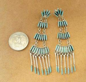 Zuni-Jeannie-Lastiyano-Sterling-Silver-Needlepoint-Turquoise-Large-Earrings