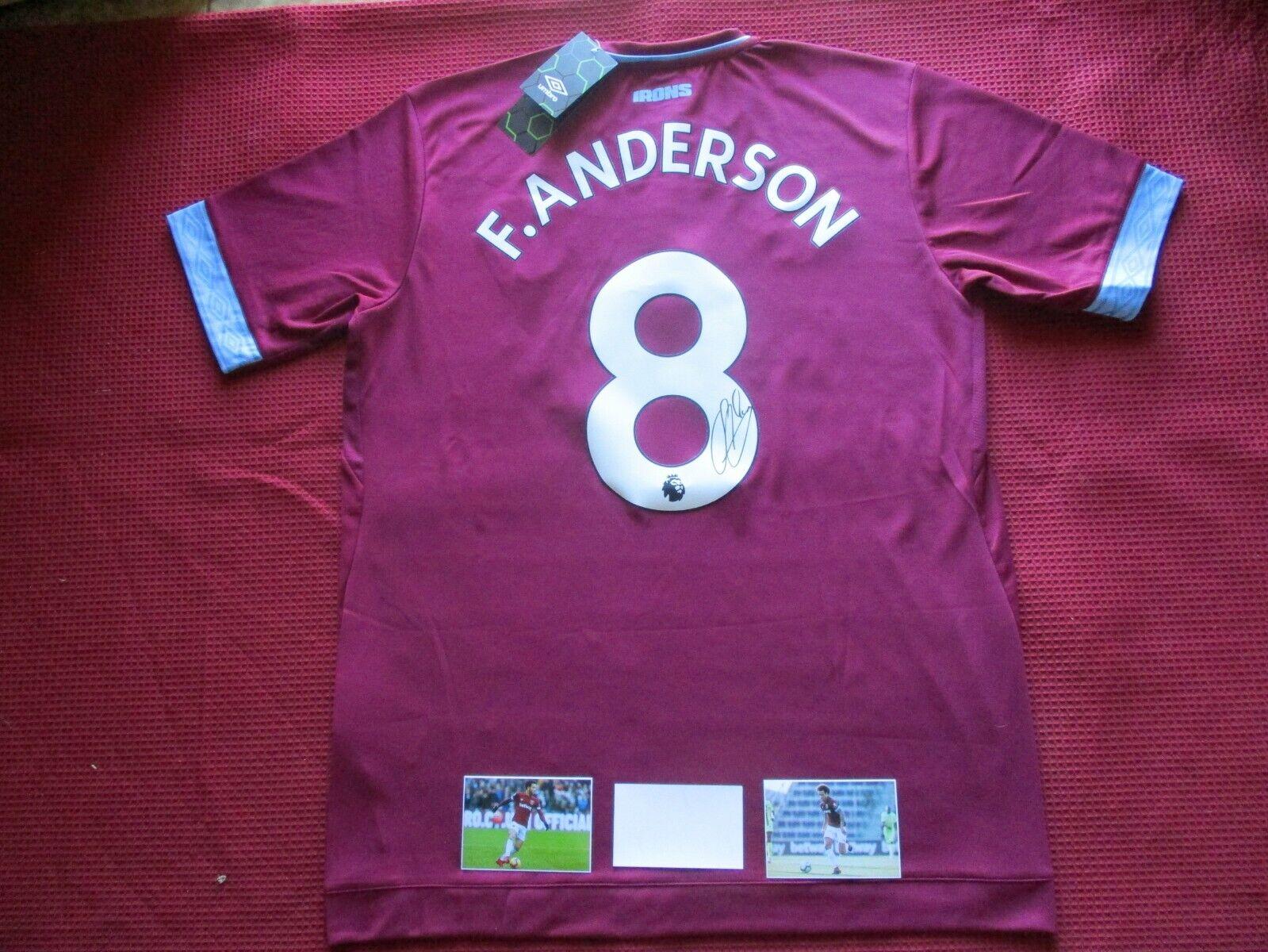 West Ham United-Martillos Felipe Anderson Foto Firmada 2018-19 Camiseta Jersey-prueba
