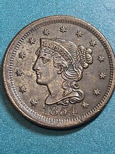 1854 Large Cent Braided Hair, AU!!!