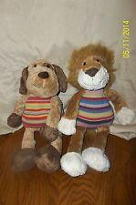 Animal Alley Lion & Dog Plush Stripe Knit Body Lot of 2