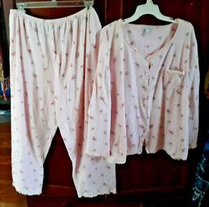 Dress Barn Cotton Knit Pajamas Pink Wsm Roses Tag Says 2x