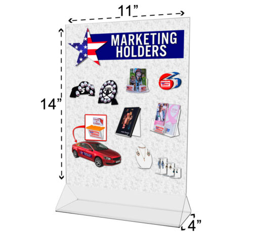 """11""""W x 14""""H Clear Acrylic Double-sided Table Tent Sign Holder Lot of 12"""