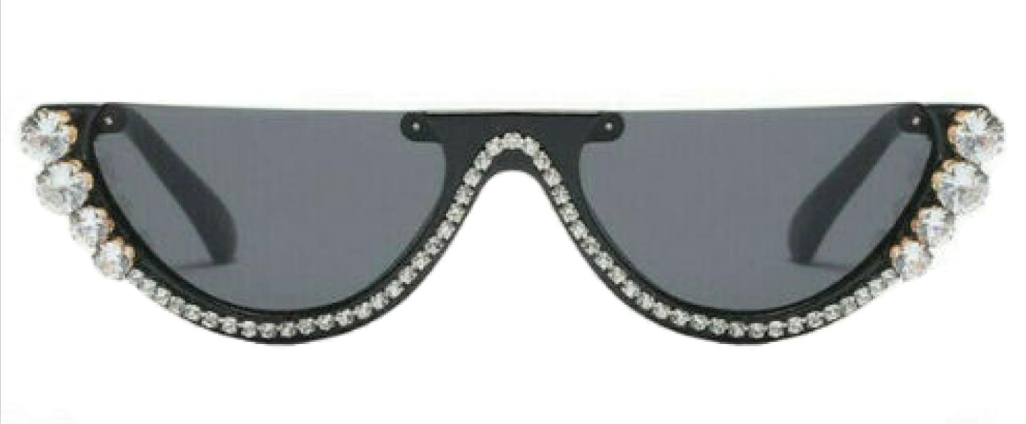 New Dhinestone fashion sunglasses Black/Gray Lens for women