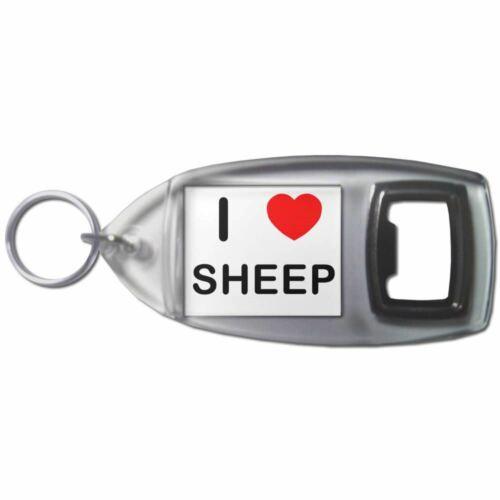 I Love Heart Sheep Plastic Bottle Opener Key Ring New