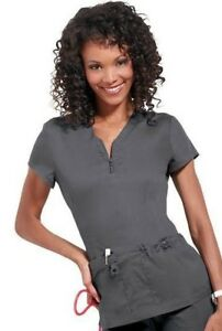 9724a1e691f Koi Stretch Women Mackenzie Zip V-Neck- 204 Solid Scrub Top/ STEEL ...