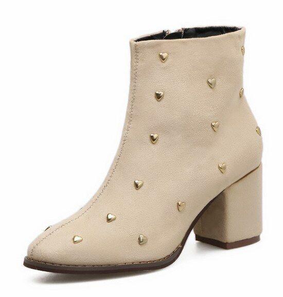 Bottes chaussures beige clous femme 7 cm cheville hauts talons confortable 9468