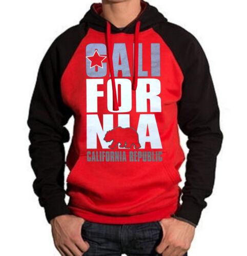 New California Republic Red Raglan Hoodie sweater cali ca bear flag dope diamond