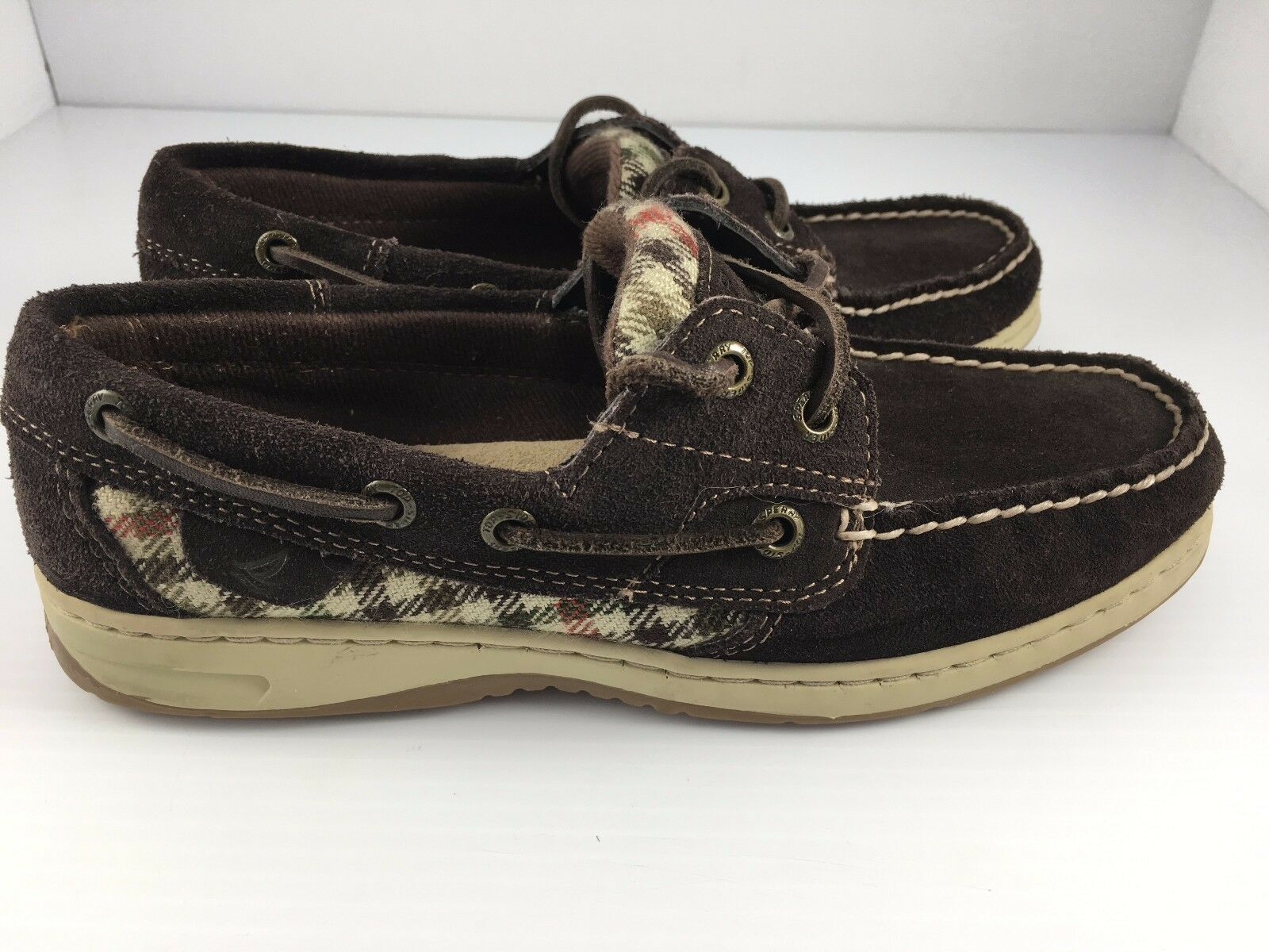 Sperry Top Sider blueefish 2 Eye Women's Chocolate Suede Boat shoes size 6
