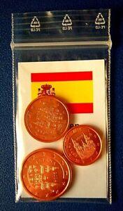 Euro Kupfermünzen Spanien Stempelglanz - Wuppertal, Deutschland - Euro Kupfermünzen Spanien Stempelglanz - Wuppertal, Deutschland