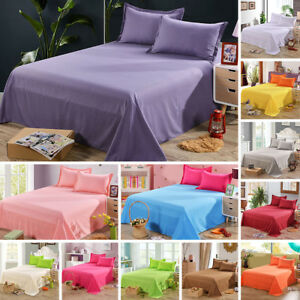 Bed-Flat-Sheets-Twin-Full-Queen-Size-Bedding-Fitted-Sheet-Pillowcase-Solid-Color