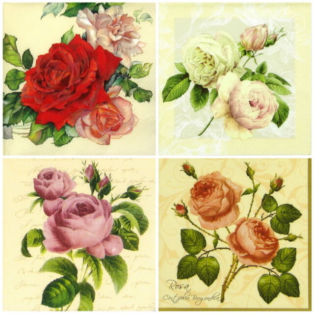 4x Single Lunch Party Paper Napkins for Decoupage Decopatch Craft Roses Mix