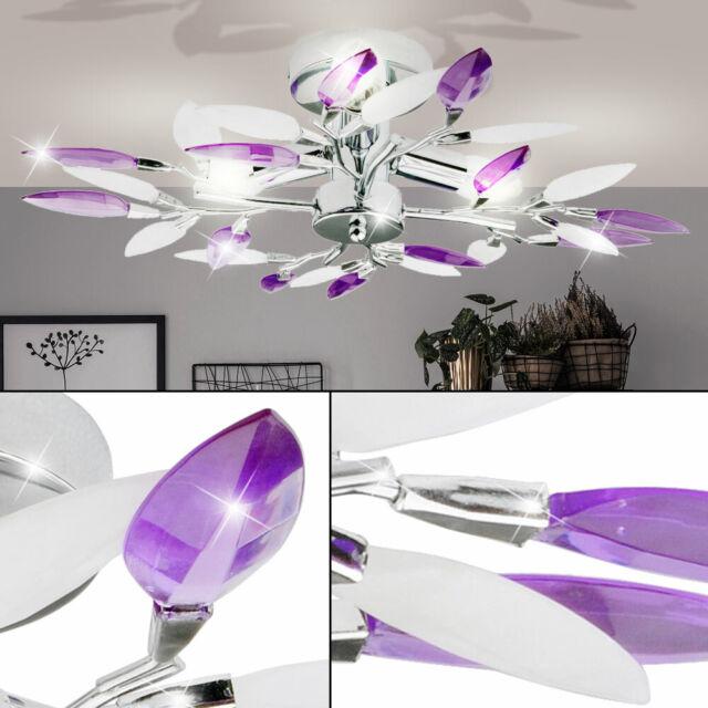 Chrom Decken Blüten DESIGN Lampe Leuchte purple Beleuchtung Wohn Zimmer Diele