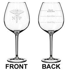 Wine Glass White Red Jumbo 20oz 2 Sided NP Nurse Practitioner Caduceus
