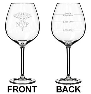 Stemless Wine Glass NP Nurse Practitioner Miracle Worker Job Title Stemmed