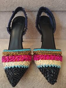 65f82c1c934 TORY BURCH Isle Multi Color Beaded Black Navy Suede Slingback Heels ...
