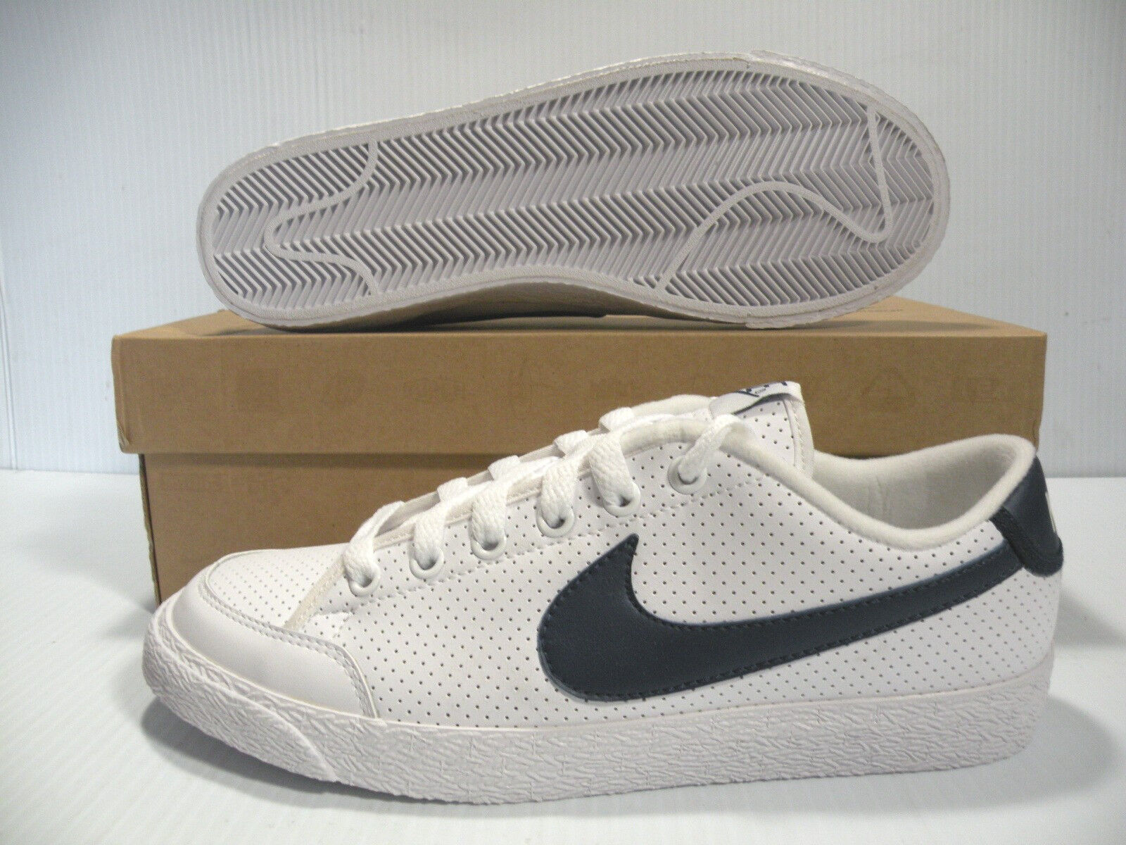 NIKE COURT LOW SNEAKERS MEN SHOES WHITE NAVY 344143-141 SIZE 7.5 NEW