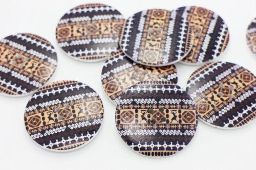Pharaoh Pattern Wood Button Egyptian Ancient Egypt Extra Large Coat 40mm 10pcs