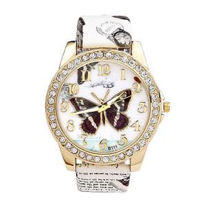 Damenuhr-PU-Leder-Uhrband-Armbanduhr-Schmetterling-Muster-Analog-Quarzuhr-Mode