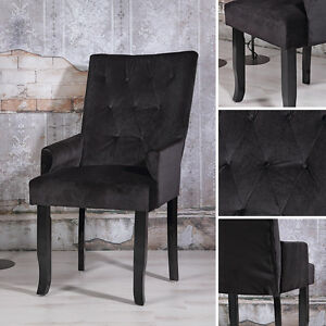 ... Design Esszimer Sessel Schwarz Samt Armlehnen Barock Lehnstuhl