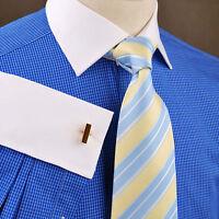 Mens Plaids & Checks Business Formal Dress Shirt French Contrast White Cuff B2b
