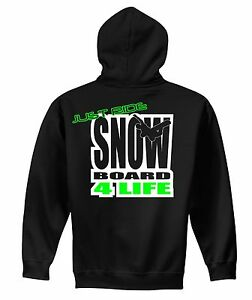 JUST-RIDE-SNOW-BOARD-4-LIFE-HOODIE-SWEAT-SHIRT-BURTON-DC-ATOMIC-HEAD-FLOW-SKI