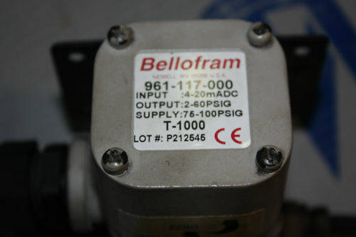Bellofram 961-117-000 current to pressure I//P transduce
