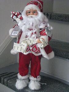 Trommel-Santa-Klaus-46cm-Weihnachtsmann-Weihnachtsdeko-Nikolaus-Weihnachten