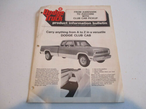 1973 Dodge Club Cab Truck Product Information Bulletin