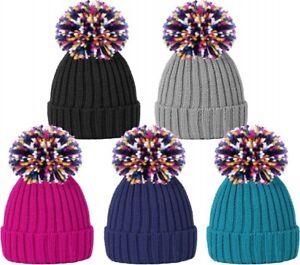 New Unisex Ladies Men Winter Hats Cable Knitted Ski Rainbow Pom Pom ... 988565fcddf