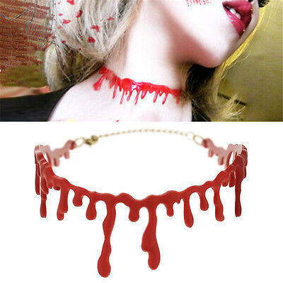 Lady Jewelry Deathrock Blood Red Stitch Choker Chain Pendant Necklace Halloween