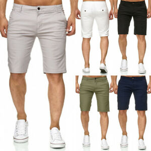 Men-Shorts-Slim-Fit-Stretch-Flat-Front-Summer-Casual-Solid-Color-Pants-Trousers