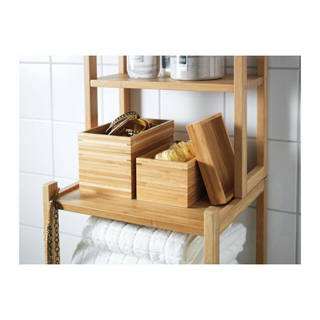 IKEA 2Pcs Bathroom Set Bamboo Organiser Bath Make Up Caddy Storage Container Box