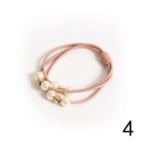 5XPearl Mädchen Perlen Haarband Seil Scrunchie Haargummi Pferdeschwanz Ha/_2018