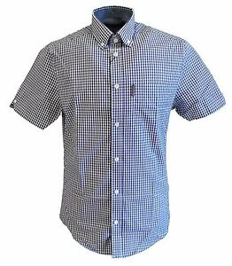 Ben-Sherman-Morado-Blanco-Tab-Gingham-a-Cuadros-Manga-Corta-Camisas