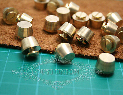 New 10pcsx screw rivet Solid brass Round headed for leather craft belt bags