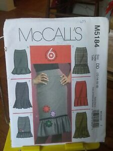 Oop-Mccalls-6-styles-5184-misses-skirts-flounce-shaped-hem-sz-12-18-NEW