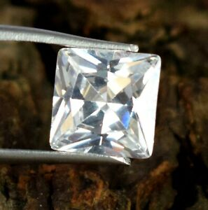 Square Cut 7.65 Ct 100% Natural White Montana Sapphire Gemstone Certified A56483