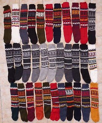 PERUVIAN ALPACA SOCKS WOOL PERU WARM KNITTED LEG WARMERS THERMAL BOOT WELLY LONG