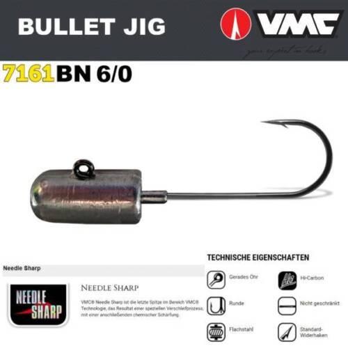 3 Stück VMC 7161BN Bullet-Jighaken 6//0 60g