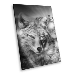 Details About A467 Black White Animal Portrait Canvas Picture Print Wall Art Wolf Abstract