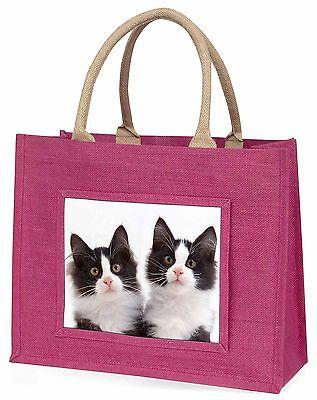 Schwarz weiße Kätzchen Große Rosa Einkaufstasche Weihnachtsgeschenk Ide,