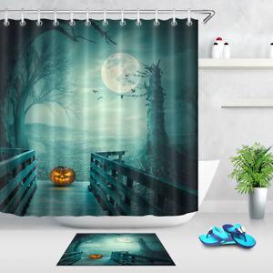 Waterproof Fabric Halloween Funny Pumpkin Shower Curtain Liner Bathroom 12 Hooks