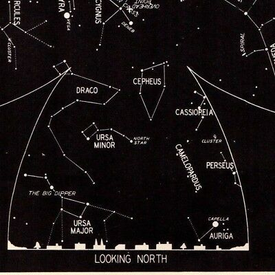 1942 September Sky Star Constellation Map Astronomy Print