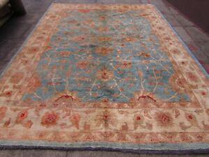 Traditional-Hand-Made-Afghan-Zigler-Oriental-Wool-Light-Blue-Carpet-365x277cm