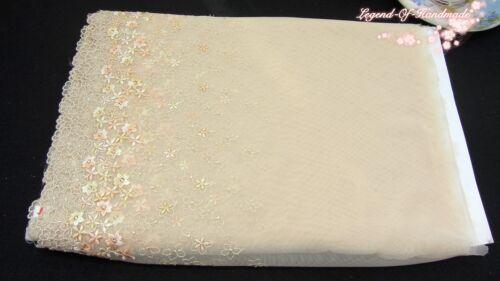 "Gold Pêche ~ Midnight bloom ~ 12.5/""*1Y embroideredtulle dentelle ~ Deep Beige Crème"