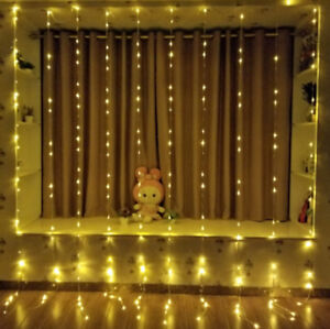 Xmas-Christmas-Waterfall-Curtain-Lights-3-3M-320LED-Icicle-String-Light-WarmWhit