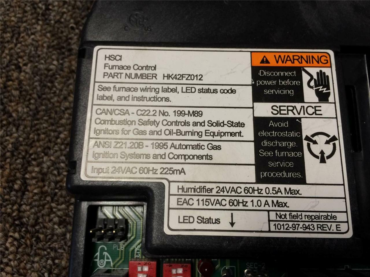 Carrier Bryant Hk42fz012 Furnace Control Circuit Board Hk42fz003 Ebay Hk42fz009 1012940l Norton Secured Powered By Verisign